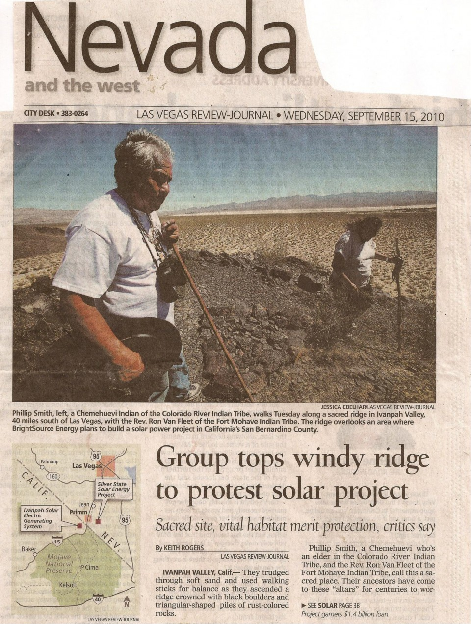 Ivanpah Newspaper Article
