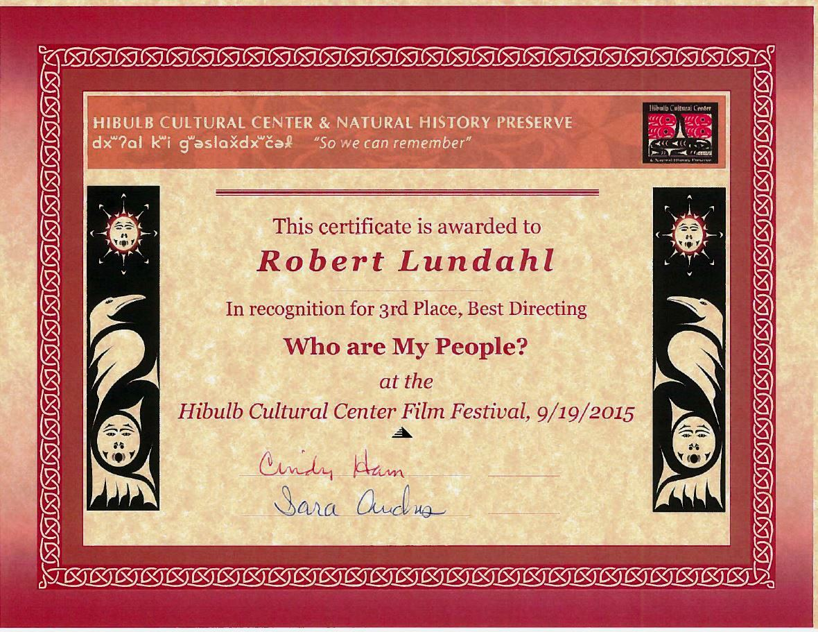 2015 Film Robert Lundahl 3rd Place Directing